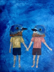 a painting of two human figures with bird heads holding hands against a blue background by Cynthia Burke
