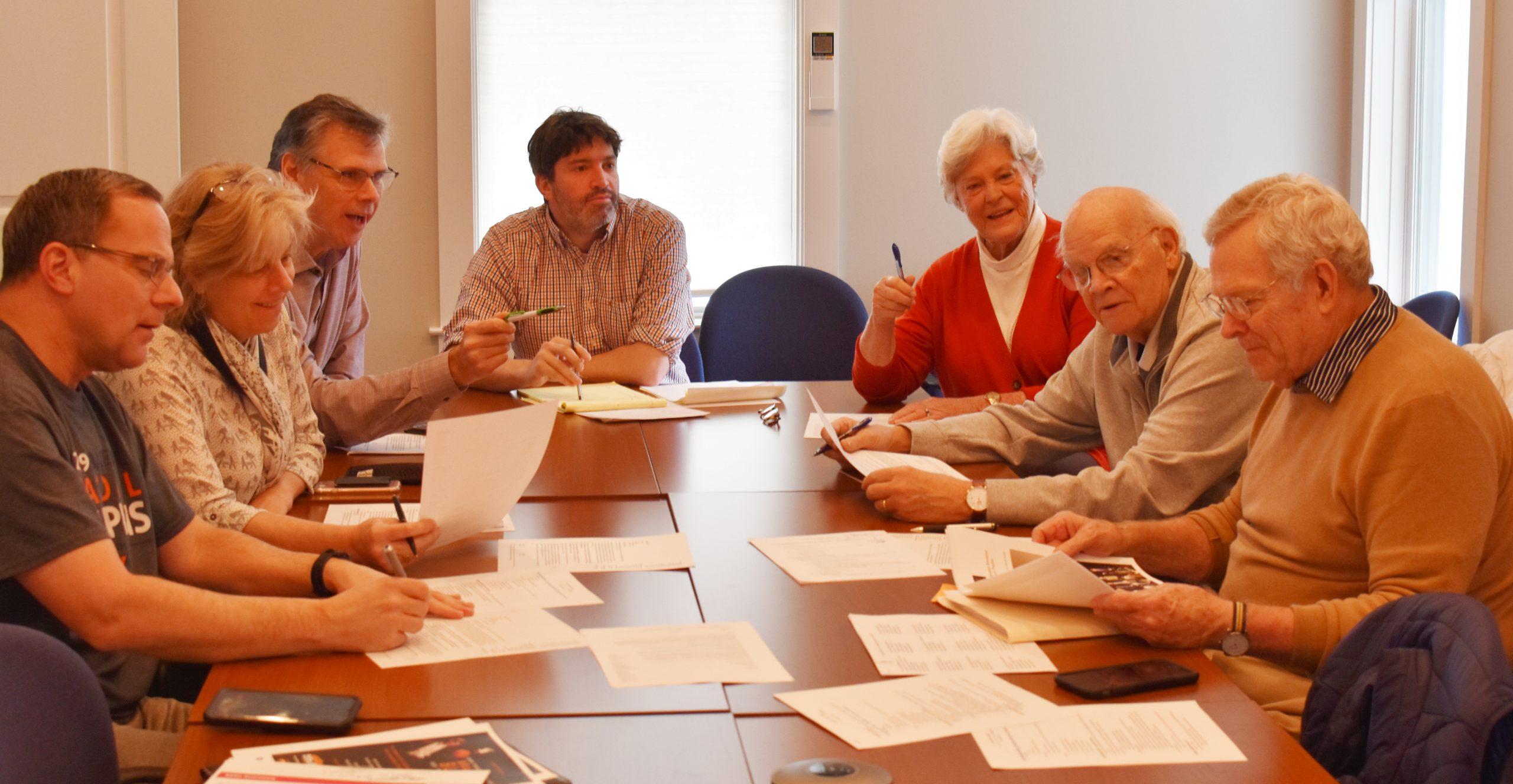 The Bracket Breakfast Committee: Steve Rappaport, Kate Hamilton, Jim Miller, Rick Wampler, Marty Sayler, Bob Sayler, and R. Peter Kilburn.